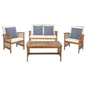 Rocklin 4 PC Outdoor Set - Natural / Beige / Navy & White