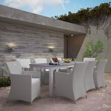 Junction 9 Piece Outdoor Patio Dining Set in Gray White
