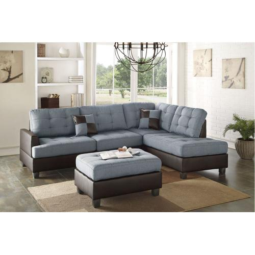 Poundex - Grey Fabric Two Tone Reversible Chaise Sectional with Ottoman Included