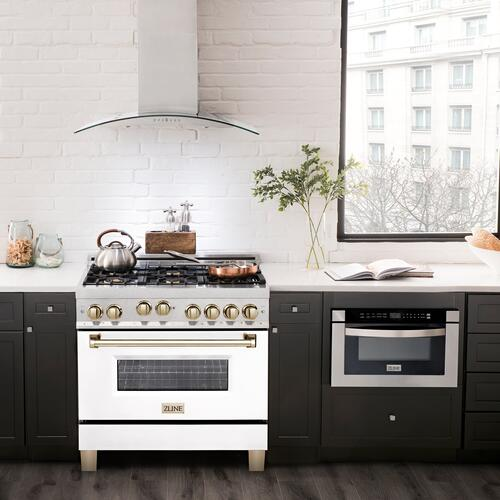 """Zline Kitchen and Bath - ZLINE 36"""" 4.6 cu. ft. Range with Gas Stove and Gas Oven in DuraSnow® Stainless Steel with White Matte Door and Accents (RGSZ-WM-36) [Accent: Matte Black]"""