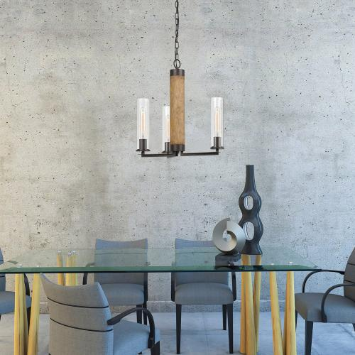 60W X 3 Silverton Metal/Wood 3 Light Chandelier With Glass Shades. (Edison Bulbs included)