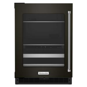 "Kitchenaid24"" Beverage Center with Glass Door and Metal-Front Racks - Black Stainless Steel with PrintShield™ Finish"