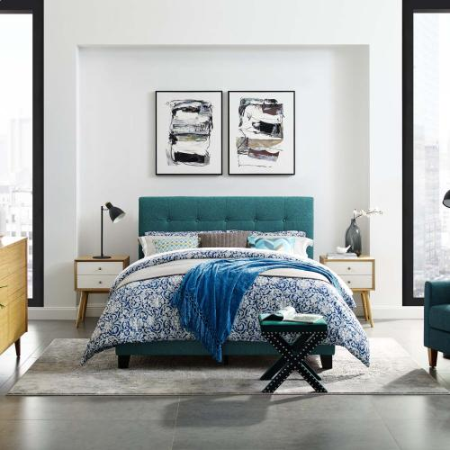 Amira Twin Upholstered Fabric Bed in Teal