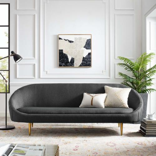 Sublime Vertical Curve Back Fabric Sofa in Gray