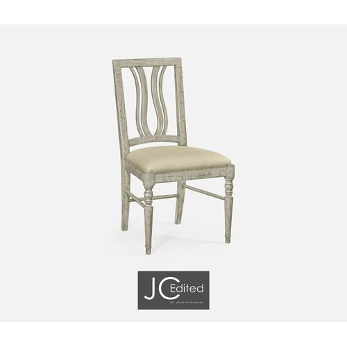 Rustic Grey Curved Back Side Chair, Upholstered Seat in MAZO