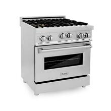 ZLINE 30 in. Professional 4.0 cu. ft. 4 Gas on Gas Range in Stainless Steel with Brass Burners (RG-BR-30)
