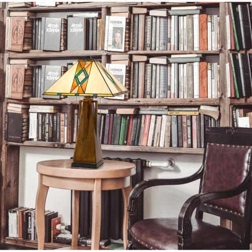 Cal Lighting & Accessories - 60W x 2 Tiffany table lamp with pull chain switch with resin lamp body