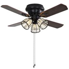 Pearla Ceiling Light Fan - Dark Walnut With Black / Dark Walnut