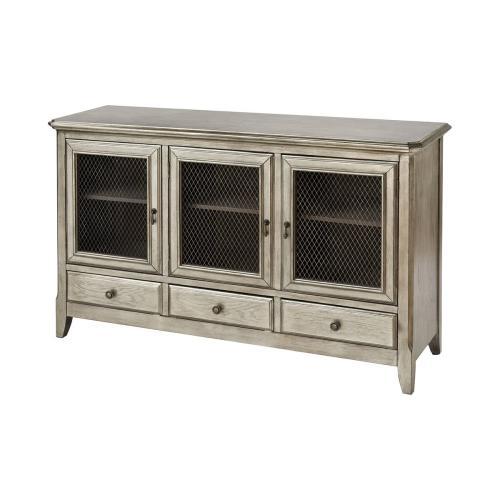 Walsh 3-door 3-drawer Cabinet In Antique Silver Leaf