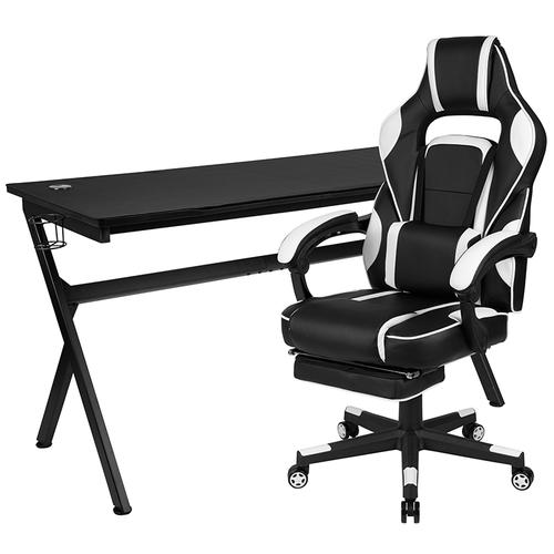 Gallery - Gaming Desk with Cup Holder\/Headphone Hook\/Removable Mousepad Top & White Reclining Back\/Arms Gaming Chair with Footrest