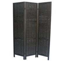 7039 BLACK Rustic Woven 3-Panel Room Divider
