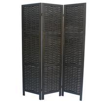 See Details - 7039 BLACK Rustic Woven 3-Panel Room Divider
