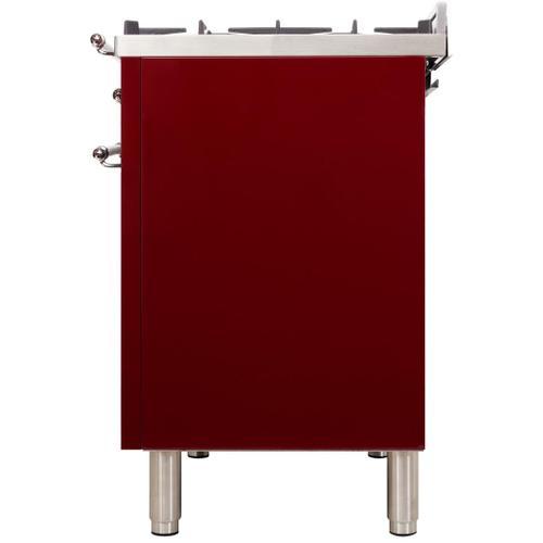 Nostalgie 36 Inch Dual Fuel Liquid Propane Freestanding Range in Burgundy with Chrome Trim