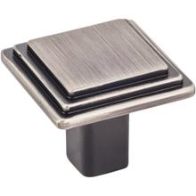 "1-1/4"" Overall Length Stepped Square Cabinet Knob."
