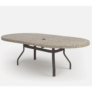 """44"""" x 84"""" Oval Dining Table (with Hole) Ht: 27.25"""" 37XX Universal Aluminum Base (Model # Includes Both Top & Base)"""