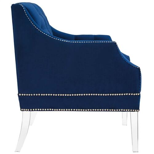 Proverbial Tufted Button Accent Performance Velvet Armchair in Navy