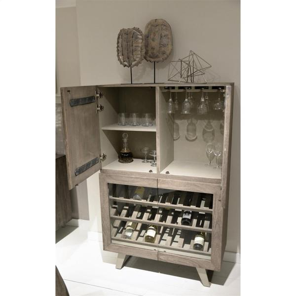 Waverly - Bar Cabinet - Sandblasted Gray Finish
