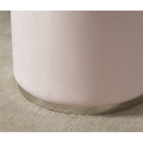 Opus Round Ottoman in Blush Pink/Silver