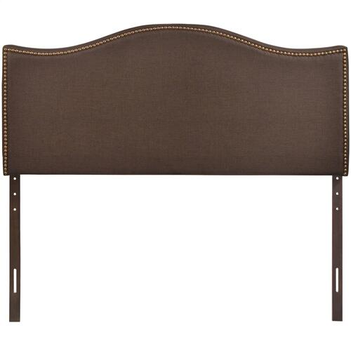 Curl Queen Nailhead Upholstered Headboard in Dark Brown