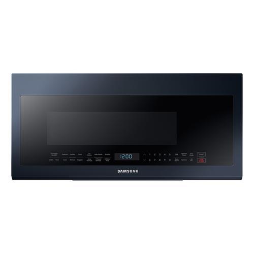 Samsung - 2.1 cu. ft. Smart BESPOKE Over-the-Range Microwave with Sensor Cooking in Fingerprint Resistant Navy Steel