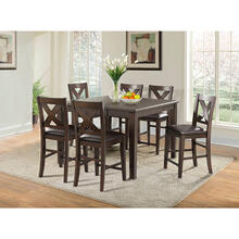 Cambridge Huntington 7-Piece Counter-Height Dining Set: 1 Drop-Leaf Table and 6 Cross Back Chairs w/ Faux-Leather Seats in Medium Brown, 982005-7PC1-BRW