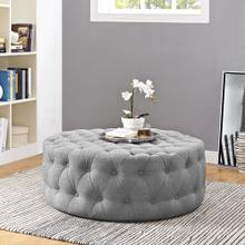 See Details - Amour Upholstered Fabric Ottoman in Light Gray