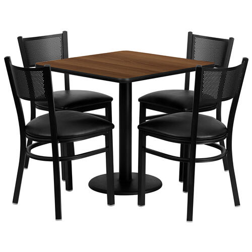 Flash Furniture - 30'' Square Walnut Laminate Table Set with 4 Grid Back Metal Chairs - Black Vinyl Seat