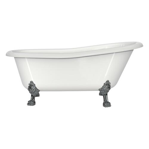 Product Image - Roxburgh 67-1/8 Inch X 31-7/8 Inch Freestanding Slipper Bathtub in Volcanic Limestone™ with Overflow Hole - Gloss White