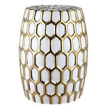 See Details - Laili Garden Stool - Gold/white