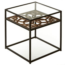 Carved Medallion Side Table with Tempered Glass Top