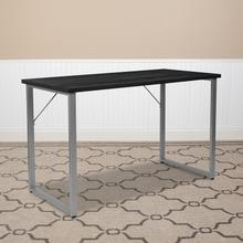 See Details - Harvey Black Finish Computer Desk with Silver Metal Frame