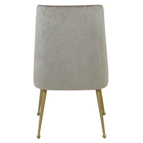 Product Image - Cedric KD Fabric Dining Side Chair Gold Legs, Pearl Gray