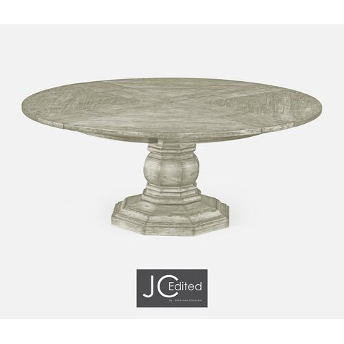 "59"" Circular Dining Table with Self-Storing Leaves in Rustic Grey"
