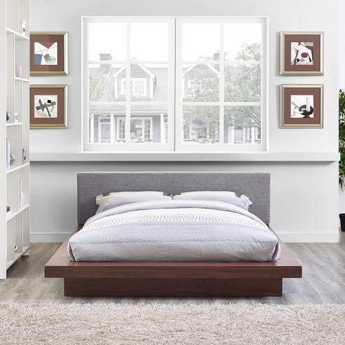 Freja Queen Fabric Platform Bed in Walnut Gray