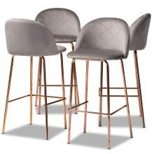 See Details - Baxton Studio Addie Luxe and Glam Grey Velvet Fabric Upholstered and Rose Gold Finished 4-Piece Bar Stool Set