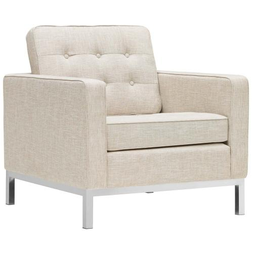 Modway - Loft 3 Piece Upholstered Fabric Sofa Loveseat and Armchair Set in Beige