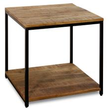 CHATTERCUT SOLID MANGO  22ht X 22w X 22d  Side Table with Lower Shelf in a Medium Natural Finish &