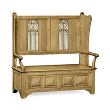 See Details - Natural oak Gothic style settle with storage