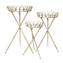 """S/3 Metal Accent Tables 32/28/24"""", Gold Kd"""