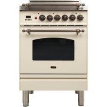 Nostalgie 24 Inch Gas Natural Gas Freestanding Range in Antique White with Bronze Trim
