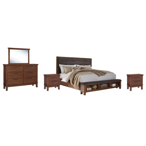 Queen Upholstered Panel Bed With Dresser and 2 Nightstands