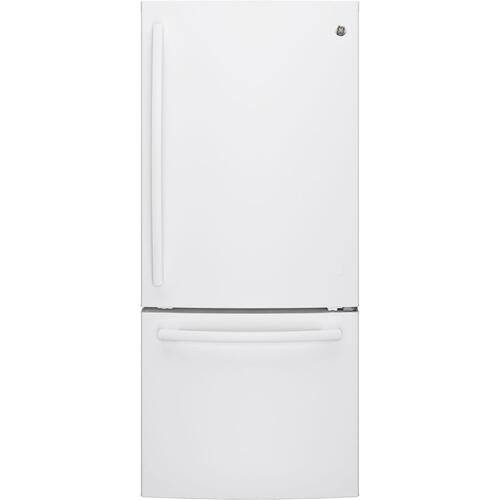 GE 20.9 cu.ft. Bottom Freezer Refrigerator White GDE21DGKWW