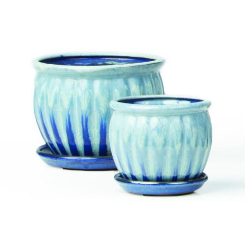 Chaudron P.Pots w/attchd saucr Blue S/2 4 sets/ctn