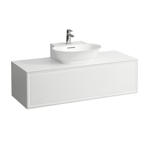 White Matte Drawer element 1200, 1 drawer, with centre cut-out, matches small washbasin 816852