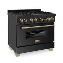 """See Details - ZLINE Autograph Edition 36"""" 4.6 cu. ft. Dual Fuel Range with Gas Stove and Electric Oven in Black Stainless Steel with Accents (RABZ-36) [Color: Champagne Bronze]"""