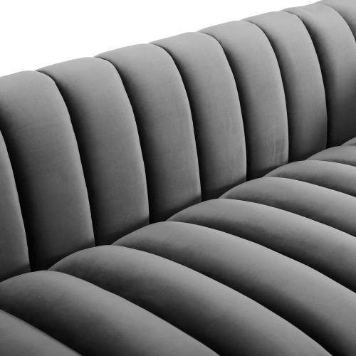 Modway - Entertain Vertical Channel Tufted Performance Velvet Sofa in Gray