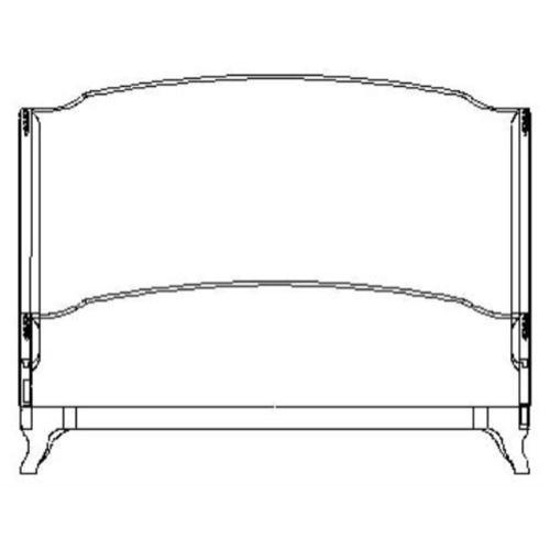 US Cali King Louis XV bed (Grey weathered/Velvet calico)