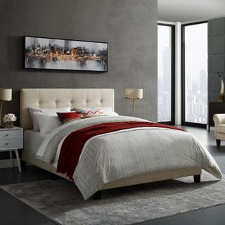 Product Image - Amira Queen Upholstered Fabric Bed in Beige