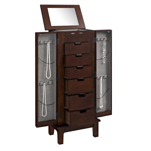 Double Door With 6-drawer Inside and 2 Side Doors Jewelry Armoire, Mahogany