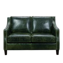 See Details - Miles Leather Loveseat in Fescue Green